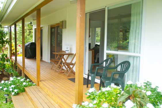 From the covered veranda the house opens into a very spacious one bedroom cottage
