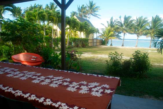 View from the veranda to the yard and lagoon
