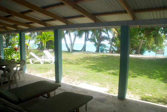 View from the veranda at Teiao Beachfront, Rarotonga, Cook Islands