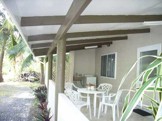 each cottage has a covered veranda with outside seating