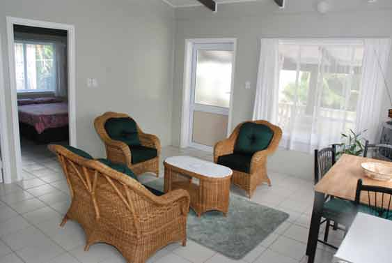 living and dining area at Aroanui Cottages, Rarotonga, Cook Islands
