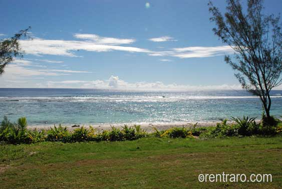 wide uninterrupted views of the ocean from the veranda at Aromas, Rarotonga, Cook Islands
