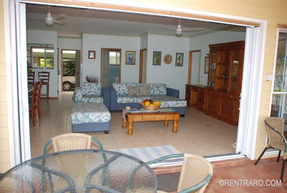 thru the sliding doors the main living area opens up