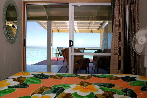 Islander's master bedroom has views of the beach and lagoon with sliding doors out to the large covered verandah