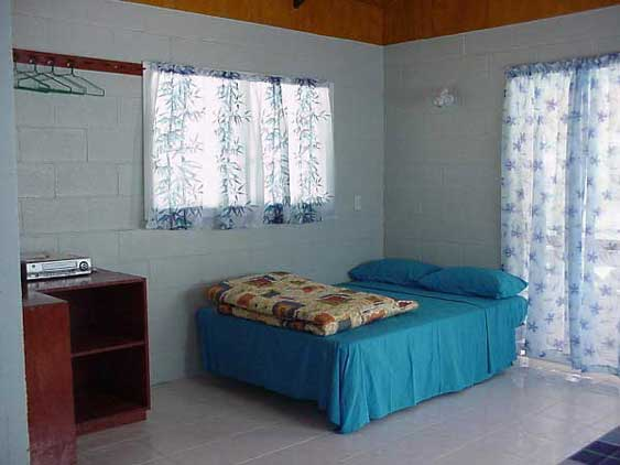 The bungalows are simple studios with queen size beds