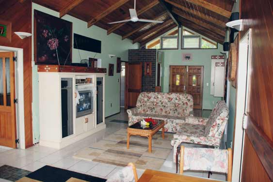 The lounge/dining area contains most creature comforts, television, video, CD/DVD