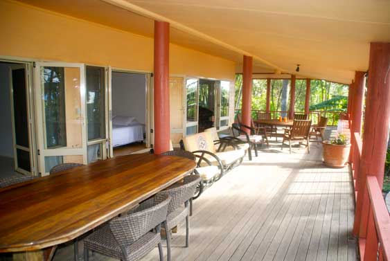 Massive veranda at Muri Garden Lodge, Rarotonga, Cook Islands
