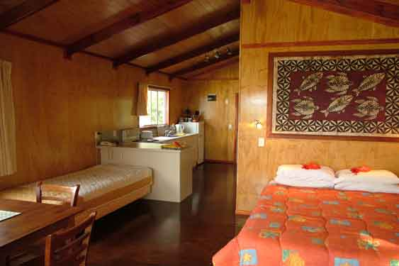 king size beds with an extra single bed in two of the bungalows