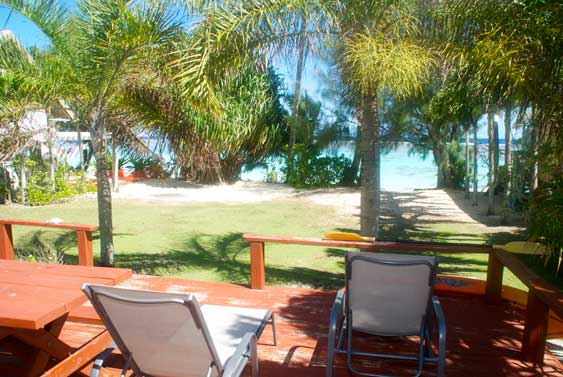 The beach side of the bungalow has a wide wood decking which is an ideal spot