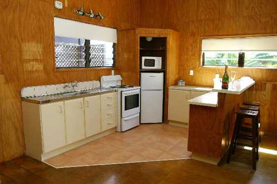 fully equipped kitchen with electric stove, microwave and fridge/freezer