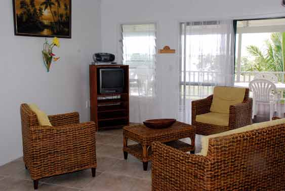Living area with TV at Ocean View, Rarotonga, Cook Islands