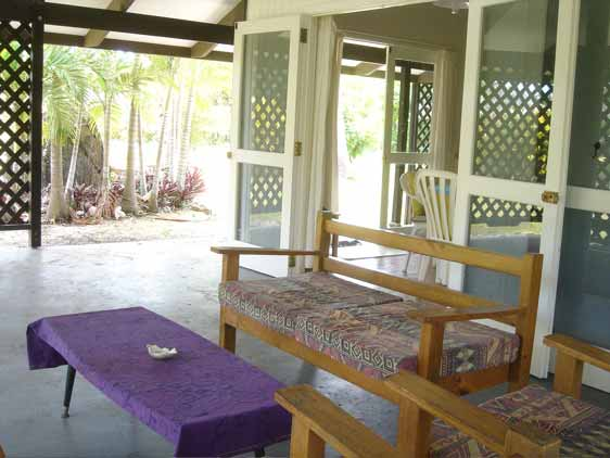 private outdoor seating at Rona K, Rarotonga, Cook Islands
