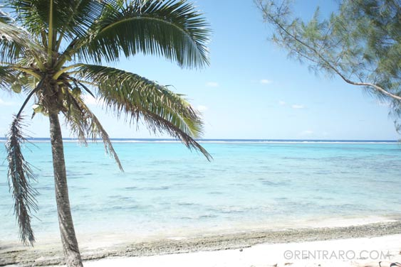 the beautiful white sand beach across the road fromm Rukuruku, Rarotonga, Cook Islands