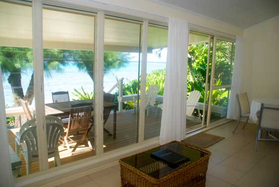 Panoramic views from the living room at Torea, Muri, Rarotong, Cook Islands