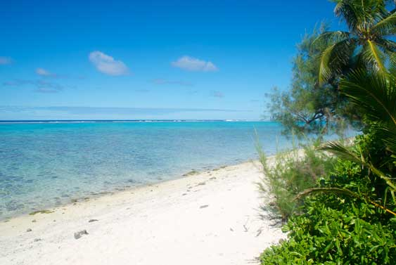 The beach at Torea, Muri, Rarotong, Cook Islands