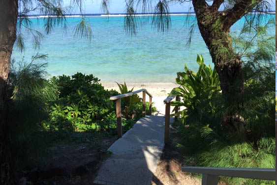 Steps from the beach at Torea, Muri, Rarotong, Cook Islands