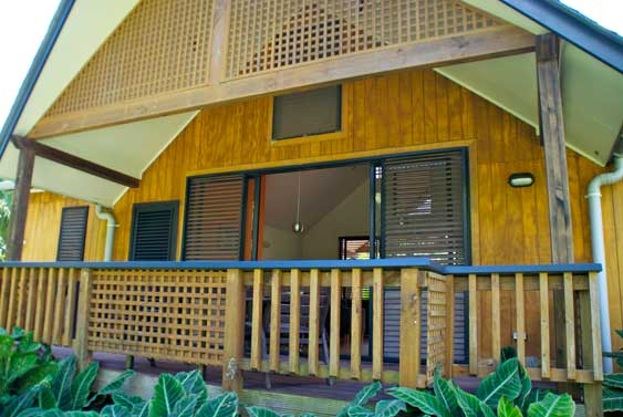 there's also a large covered veranda out the back overlooking the garden at Villa Rarotonga